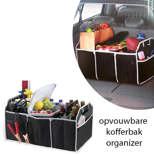 Zeer handige opvouwbare kofferbak-organizer