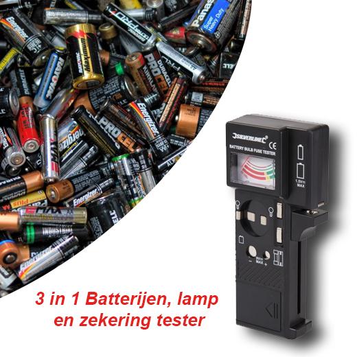 3 in 1 Batterijen, lamp en zekering tester