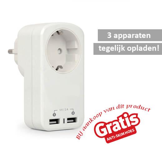 Handige 3 in 1 stopcontact met 2 USB poorten