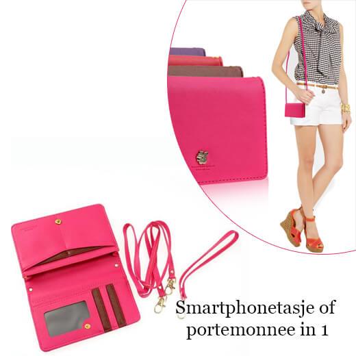 Trendy smartphone-tasje of portemonnee ineen, in 4 kleuren