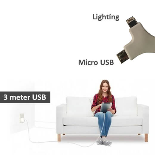 2 in 1 USB stoffen oplaadkabel van 3 meter (Samsung&iPhone)