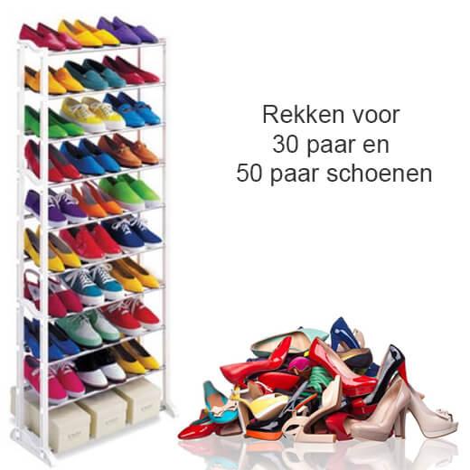 Alle schoenen netjes opgeborgen in dit schoenenrek!