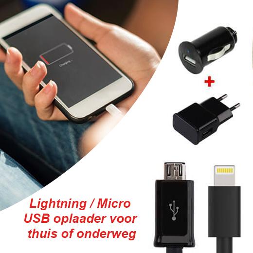 Lightning/Micro USB oplaader voor thuis of onderweg