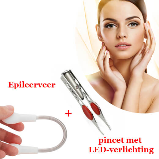 Het ultieme set epileerveer + pincet met LED-verlichting