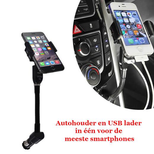 Autohouder en USB lader ineen voor de meeste smartphones