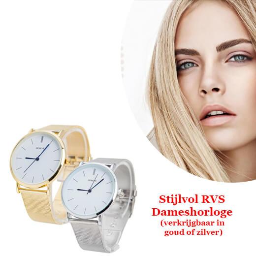 Stijlvol RVS Dameshorloge verkrijgbaar in goud of zilver