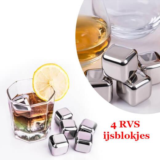 Uw drankje altijd lekker koud met de 4X RVS ijsblokjes
