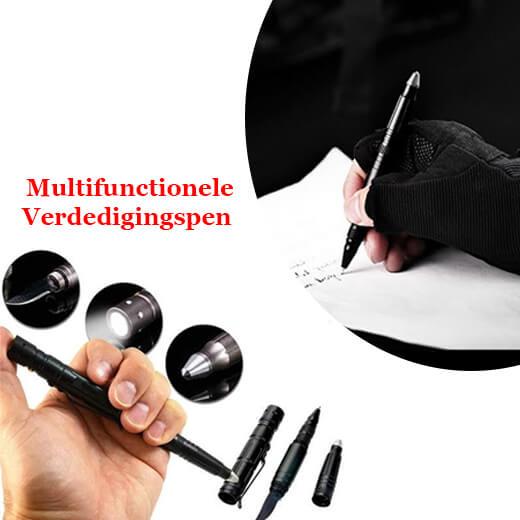 Verdedigingspen - Glasbreker, zaklamp, mes en ballpen ineen
