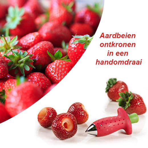 Aardbeien ontkronen in een handomdraai