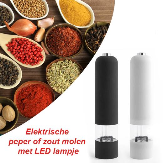 Elektrische pepermolen met klein LED lampje
