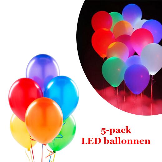 Gekleurde LED ballonnen voor elke feestelijke gelegenheid ( 5 stuks )