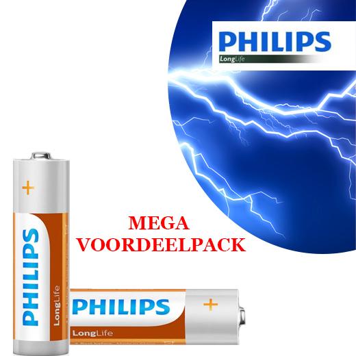 48x AA of AAA Philips LongLife Batterijen MEGA voordeelpak