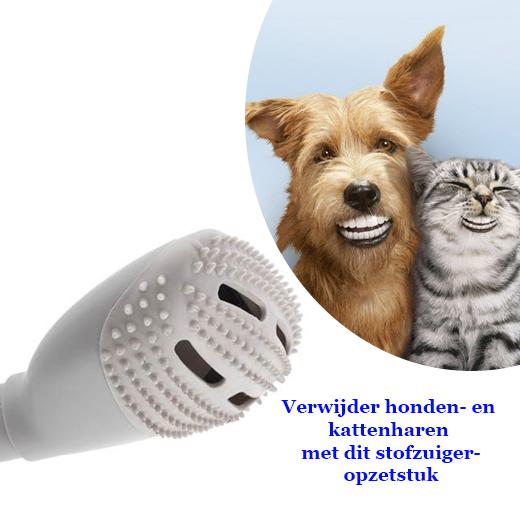 Verwijdert honden- en kattenharen met dit opzetstuk