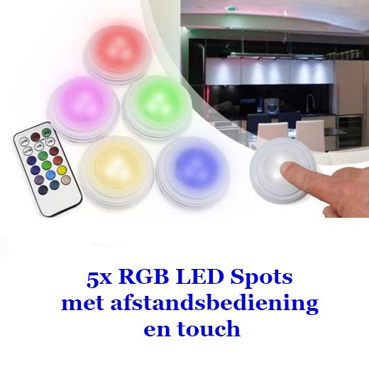 5x RGB LED Spots met afstandsbediening en touch