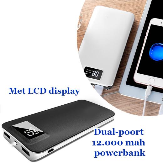 Krachtige dual-poort 12.000 mah powerbank met LCD display