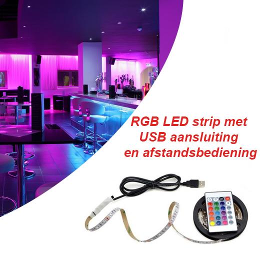 RGB LED strip met USB aansluiting en afstandsbediening