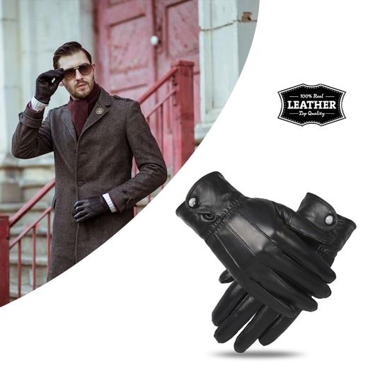 Gevoerde, echt lederen handschoenen tegen de kou