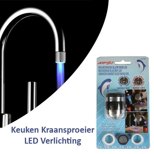 2 stuks Keuken Kraansproeier Blauw Rood LED Verlichting