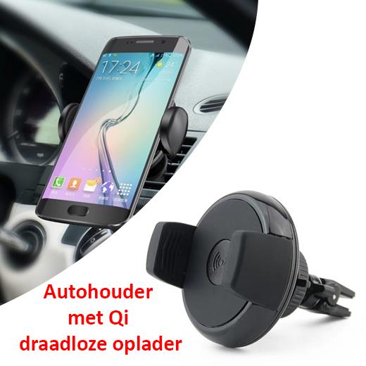 2-in-1 ventilatierooster autohouder met Qi draadloze oplader