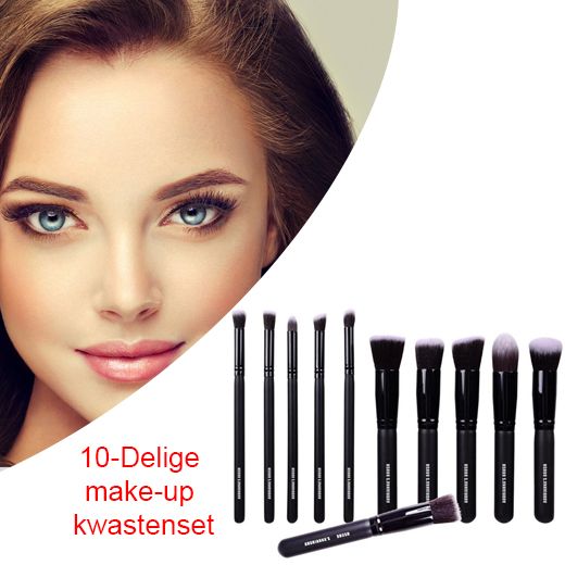 10-Delige make-up kwastenset in luxe opbergetui
