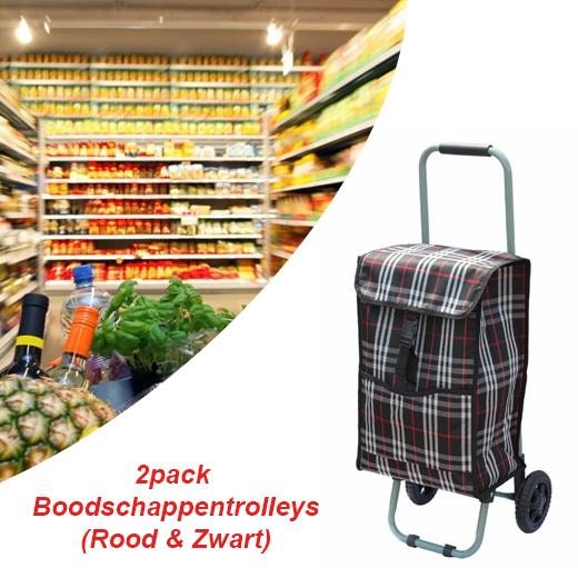 Geen zware tassen meer met deze 2pack Boodschappentrolleys