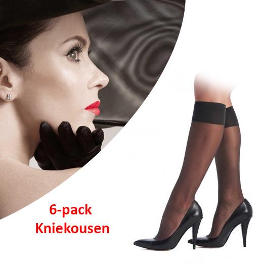 6-pack Kniekousen; Zijdezacht en met perfecte pasvorm!