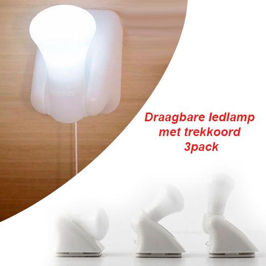 Draagbare ledlamp met trekkoord - 3pack