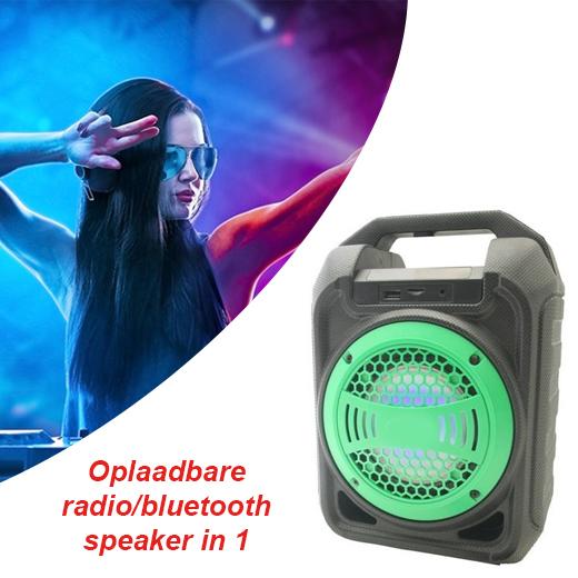 Oplaadbare radio en bluetooth speaker in 1