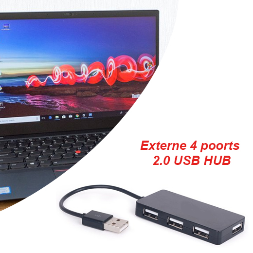 Externe 4 poorts 2.0 USB HUB voor desktop en laptop
