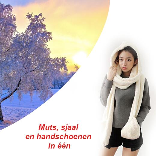 Muts, sjaal en handschoenen ineen. Heerlijk zacht en pluizig (2-pack)