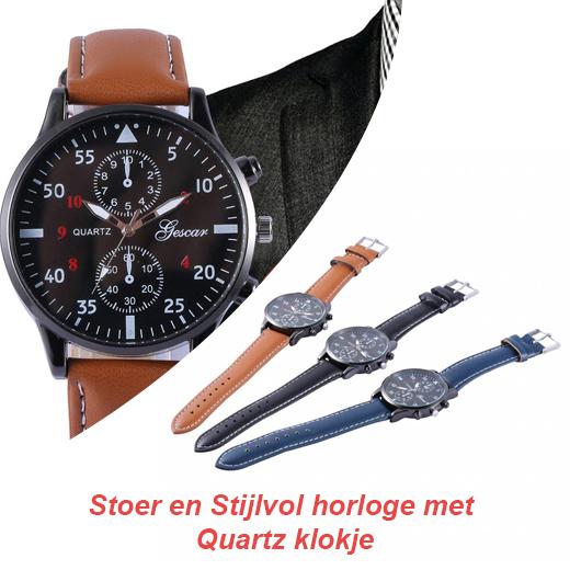 Stoer en Stijlvol horloge met Quartz klokje