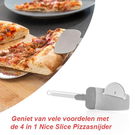 Geniet van vele voordelen met de 4 in 1 Nice Slice Pizzasnijder