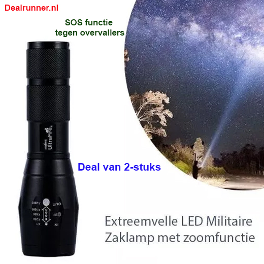 Zaklamp Tactical Superbeam - Extreemfelle LED Militaire Zaklamp (2-stuks)